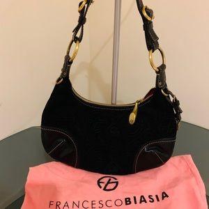 SALE !!Francesco Biasia b lack suede leather purse